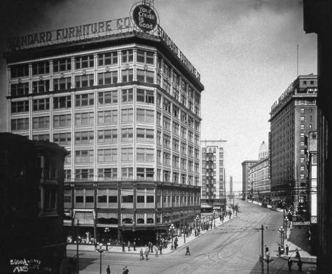 A Webster and Stevens Studio (it did mot of the Seattle Times early editorial photography) shot of Standard Furniture in the extended elegance of its new retail neighborhood.   The view, of course, looks north on 2nd over its intersection with Pine Street.