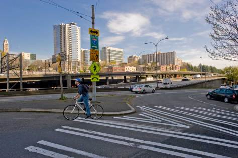 """NOW: The corner's final """"humiliation"""" came as a ditch was dug and lined with concrete in the early 1960s for the Seattle Freeway section of Interstate 5. (Jean Sherrard)"""