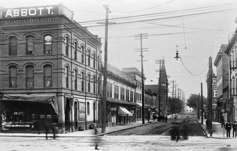 """My unattributed caption reads """"Third Avenue looking south from Pike Street, ca. 1898.  The landmark Plymouth Church is in the picture but no Post Office yet a block away."""