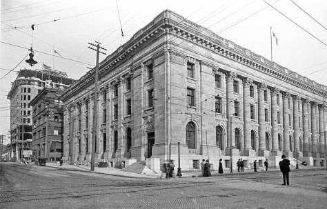 The Post Office when new, ca. 1909.  View looks southeast with Union Street on the left and Third Ave. on the right.