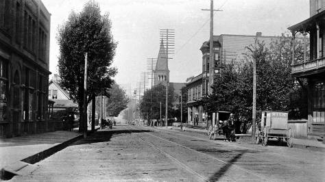 Note the distant Plymouth Congregational Church at University Street.  This is before the upheaval that began on 3rd in 1906.