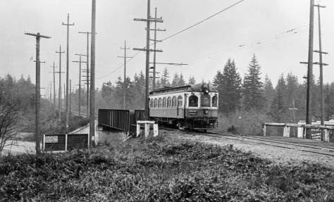 The Everett Interurban crossing the Pacific Coast Highway aka Aurora Ave near N. 157th Street (unless I am fooled.)   Courtesy Warren Wing