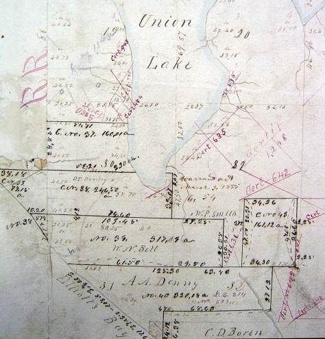 An early King County generated map of the first claims on the lake.  The names and dates are recorded.