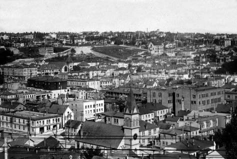 The Lutherans here hold the bottom-center of another recording of First Hill, or part of it, from Denny Hill.  The barren or exposed patch is at one of hill's steepest points, the intersection of University Street and 9th Avenue.