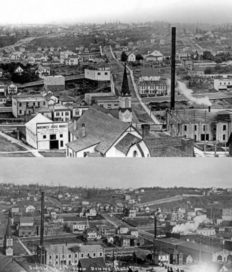 To earlier views looking east from the top of Denny Hill - for comparing to Curtis' ca. 1901 subject above it.  Notes the Swedish Baptists at 5th and Olive appear in both, as does Seattle Electric on the south side of Olive and as far as Pine Street.  They ran the trollies.
