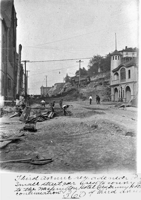 Pine Street Regrade looking west from 4th Avenue ca. 1906.  The Lutherans are behind the photographer off-frame to the right.  The north facade of the Methodist-Protestant church stands on the left.