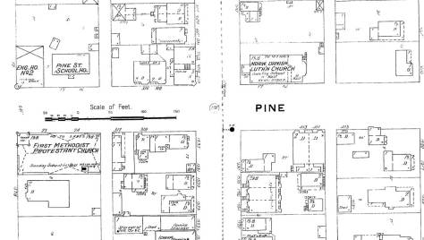 A detail from the 1890s Sanborn real estate map includes the Norwegian Danish parish, the Methodists, the fire station and North School, one of the earliest of school structures and pictured below.