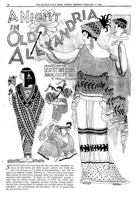 The Seattle Times splash on the Artist League's A Night in Old Alexandria for Feb. 2, 1922.
