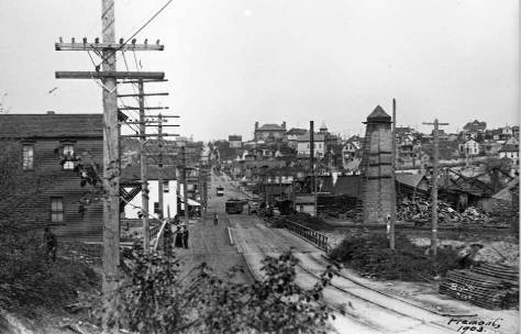 "Looking north into Fremont across the Fremont ""low-bridge"" in 1903."