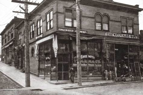 The Edgewater pharmacy and business center at 36th Street and Woodland Park Ave. then.