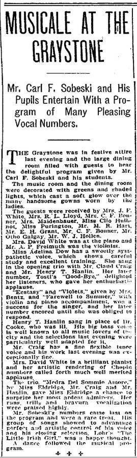 The Graystone - one of its enchanted events.  From the Seattle Times for Nov. 6, 1907.