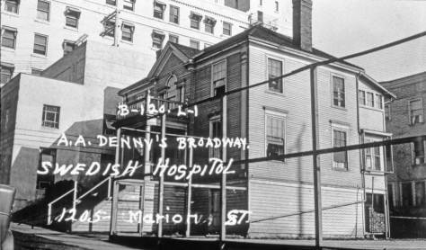 Across Marion St. from the Graystone, another 1937 WPA snapshot, this of a residence that has been (I believe) converted into a nurses dorm.  (Courtesy, Washington State Archive, Bellevue branch)
