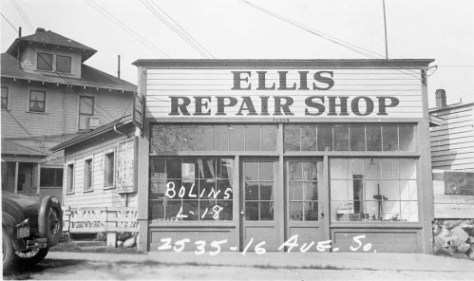 The 16th Ave. S. side of the Ellis Repair Shop.