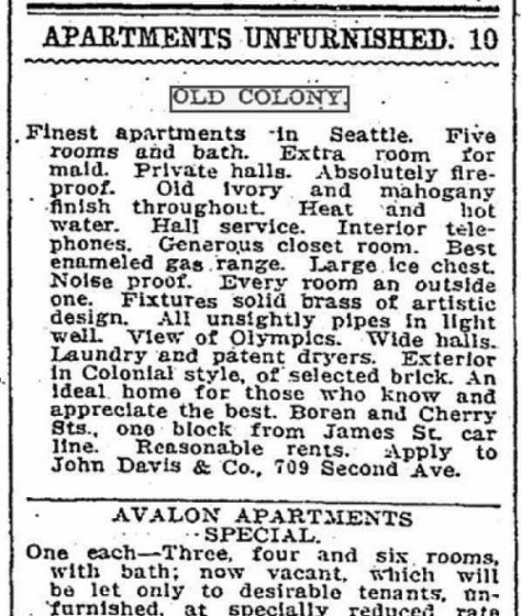 A Times classified for Old Colony on Feb. 13, 1910