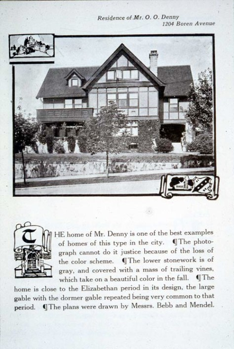 At the northeast corner of Boren and Seneca, the Narcissa and Orion Denny home was to the rear - back to back - with the Margaret & Mary Denny home.  It was eventually razed for building a parking lot for the Sunset Club, which was across Boren from both Denny Homes.