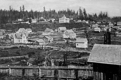 "The virgin forest covering First Hill roughly east of 6th and 7th Avenue is recorded here from a backyard on Pine Street between Second and First Avenues, ca. 1872/3.  The territorial university stands on its ""Denny Knoll"" top-center."