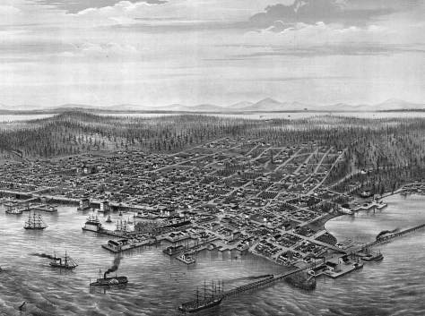 Most of the 1878 Birdseye of Seattle.  The then new King Street Coal Wharf is bottom-right. Yesler's Wharf (above the smoking side-wheeler) still dominates the more diverse waterfront commerce.