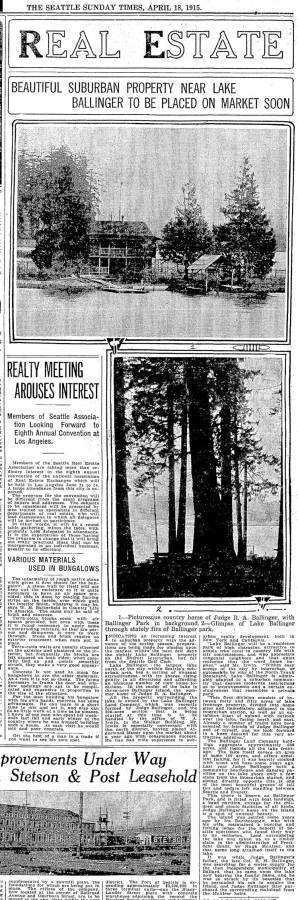 The Seattle Times returns to the judge's island home on April 18, 1915 and in greater detail.