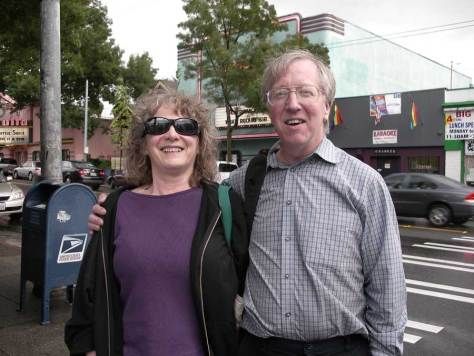 Priscilla Long - then Historylink editor, educator and author after meeting with historylink historian and King County archivist Greg Lange at Tullies - now defunct - at the Wallingford corner of 45th Street and Meridian Avenue on August 9, 2008.