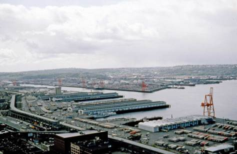 Lawton Gowey record of  much of the same south-central watefront and also from the Smith Tower. The date is April 15, 1976 and the container field is progressing. Harbor Island is at the center across the east waterway of the Duwamish.