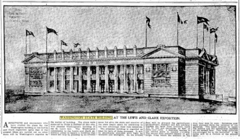Appearing in The Seattle Times for March 12, 1905, a sketch of Washington State's contribution to the 1905 Lewis and Clark Exposition in Portland, Oregon.