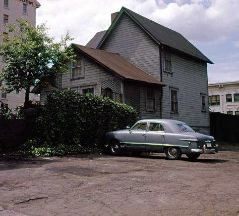 Looking southwest over the rear of the Anthony home to the northwest corner of the Waldorf Hotel.  (Frank Shaw)