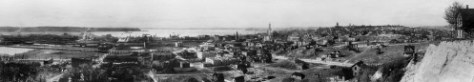 Our neighborhood - from Beacon Hill - 1914.  A. Curtis is the photographer and our Pond's location will be near the left border.    The bright street moving from the left towards the center of the pan is Deaborn a few years after its cut through Beacon Hill.