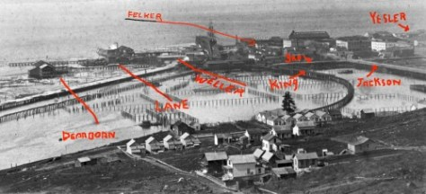 """Gas Cove"" ca. 1884, seen from Beacon Hill with the ""Piners Point"" peninsula. The Felker House is noted on the south side of Jackson Street a half-block west of First Ave. S. (then Commercial Street.)"