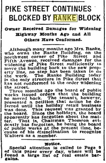 A Seattle Times clip from Jan. 23, 1907, introducing the stresses between the city, with its plans to widen Pike Street, and Dora Ranke's tardy behavior.