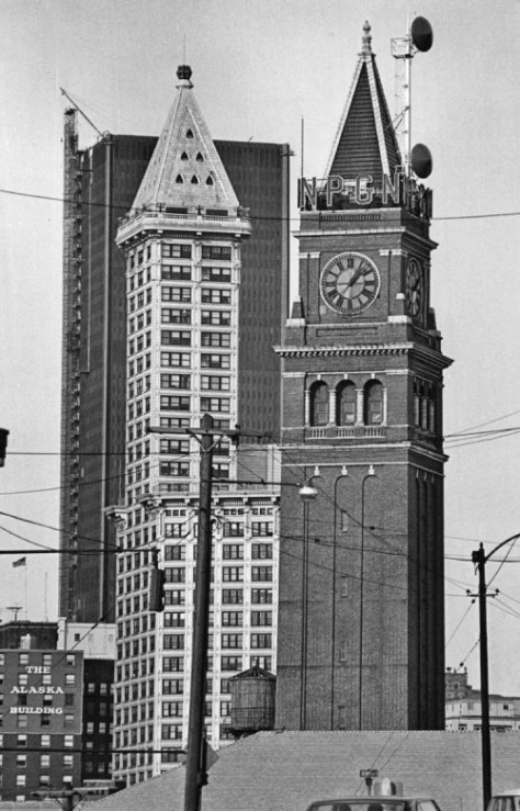 All in a row, teh Great Northern tower (1904/5), the Smith Tower (1913/14) and the SeaFirst Tower (1967/68.)