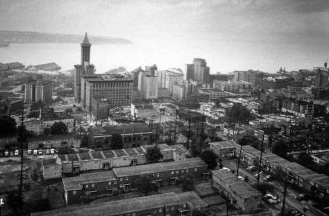 From Harborview's tower, ca. 1950, across the northwest corner of Yesler Terrace, eventually lost to Freeway construction and the hospital's expansion.