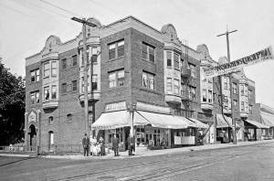 THEN: Yesler Way's corner with 17th Avenue is about three blocks west and 30 feet short of Yesler Way's summit on Second Hill. (Courtesy Lawton Gowey.)