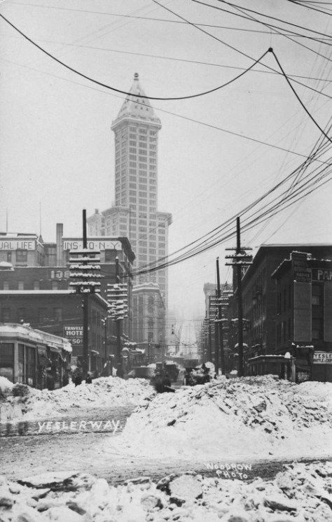 Seattle's second biggest snow - after the 1880 one shown above - fell early in 1916.