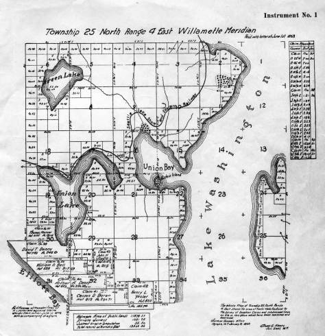 "The map of the union bay and its ""connections"" drawn from the first federal survey from the late 1850s, but with ""modern"" features added like the Seattle Lakeshore and Eastern Railroad line."