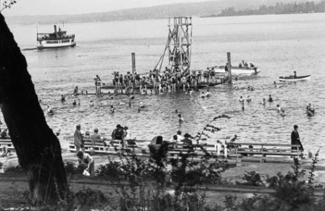 The Madison Park beach well after the 1916 nine-foot lowering of Lake Washington for the ship canal.