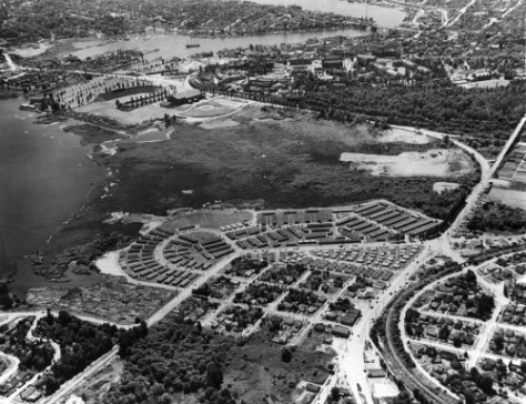 Here from above we see the full Union Bay Village some months later.  The prospect is to the southwest with Union Bay on the left.