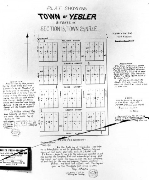 Plat for the Yesler Town Addition.