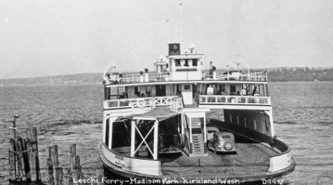 The ferry Leschi, here by evidence of the caption, at the Madison Street dock. Normally the Leschi used the Leschi Park dock.