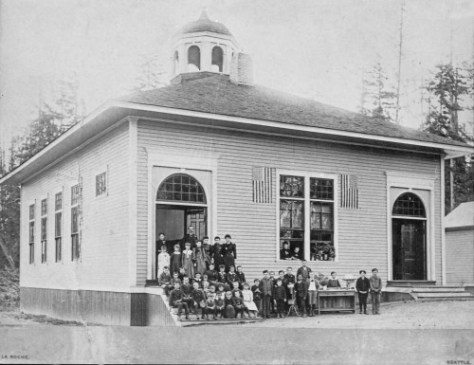 Opened in the early 1890s, Yesler School was used until 1918.  It stood on what is now 36th Ave. Northeast, between Northeast 47th and Northeast 48th Streets.