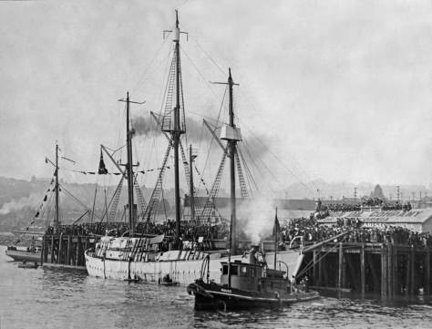 THEN: Tied momentarily to the end of the Union Oil Co dock off Bay Street, Norwegian explorer Roald Amundsen's ship Maud prepares to cast-off for the Arctic Ocean on June 3, 1922. (Courtesy, Ron Edge)