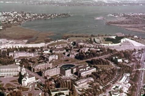 Ellis aerial of U.W. Campus and Union Bay