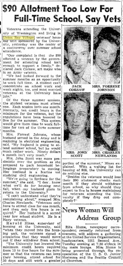 Jack Corsaw - and three others - featured in the Seattle Times for June 21, 1946.  I knew Jack - met him in his Pike Place Market studio in 1967.  A man on considerable zest, often eccentric.  Among other achievements, he designed the Post-Intelligencer globe that sat on the paper's roof through its residence at 6th and Wall.  Jack had included an apartment for himself inside the globe, but the management did not encourage it.  Earlier Jack was living at the top of the Smith Tower during the big 1949 earthquake.  He recounted his canaries strange behavior before the tremors.
