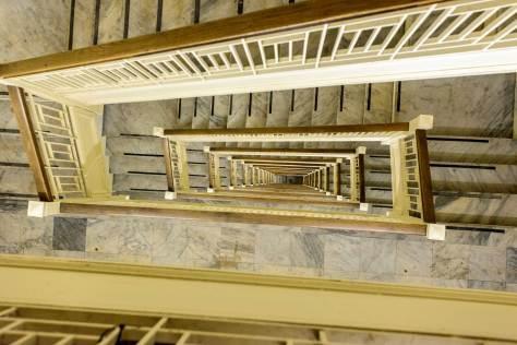 vertigo in the alaska building stairwell