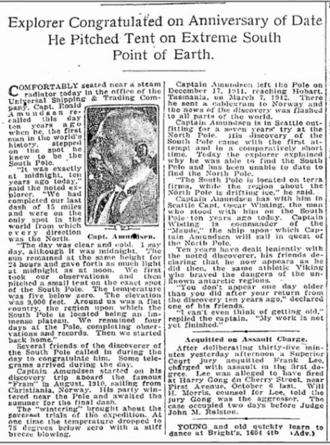 The Nord Amundsen's ironic musing (in the Times for Dec. 14, 1921) on his earlier success in reaching the South Pole first.