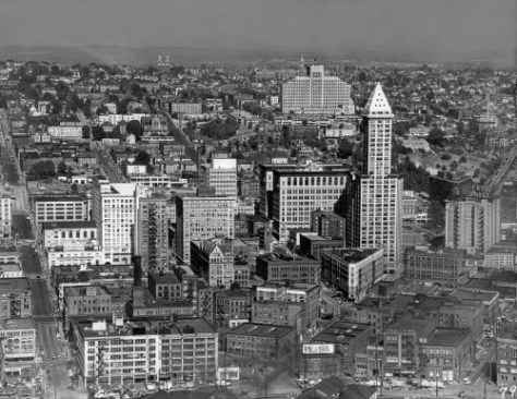 Another 1950 aerial of the looking east here over Pioneer Square, up First Hill and beyond it.  This is dated August 11, 1950. and it does include the Zindorf, barely.