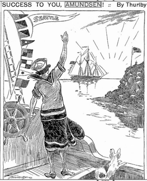 Thurlby, The Seattle Times political cartoonist of that day, bids fair sailing to MAUD and her crew in the June 3, 1922 Times.