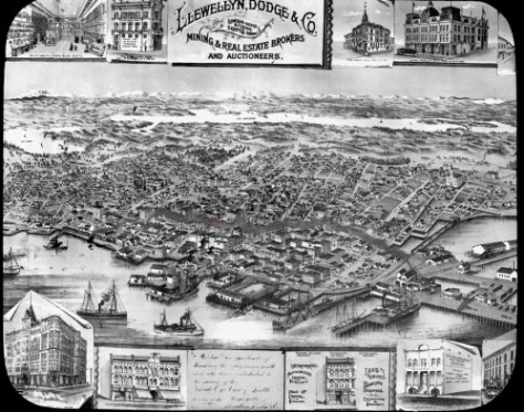 Pity the poor birdseye artist and his agent who prepared this detailed sketch of the Seattle existing before the Great Fire of June 6, 1889, only to have the most detailed and closet part of it all - the Central Business District - be razed to smoldering ruins, which the artist, perhaps in an effort to salvage some of his efforts represent with a cloud of smoke circling the burned district - about 30 blocks of it - like a soiled nimbus.  We have marked the fire stations position on Columbia Street with a red dot.
