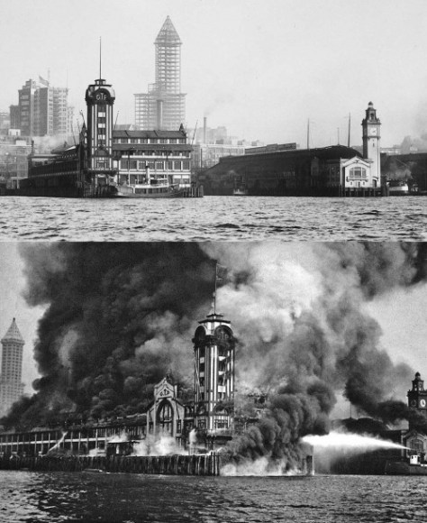The above look at the three towers in 1913 (or very late 1912) with the Smith Tower under construction and the recently rebuilt Colman Dock with its new tower on the far right.  Below it the Grand Trunk fire of 1914.
