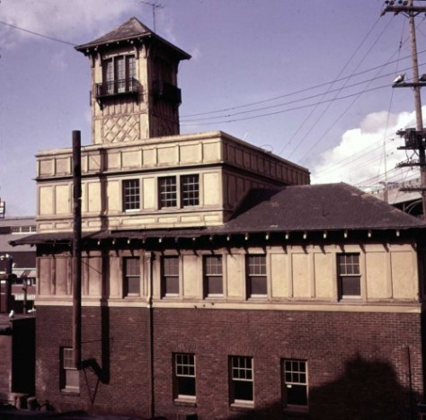 Frank Shaw's look north at Fire Station No. 5 from the west end of the Marion Street viaduct, on March 4, 1961.