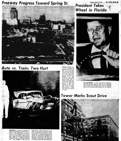 A Seattle Times clipping from Jan 5, 1963 featuring a look north from the Knickerbocher roof to the advancing work of the freeway.